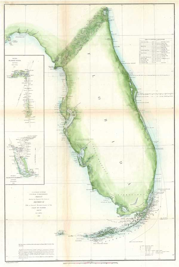 Sketch F Showing the Progress of the Survey in Section VI. With a General Reconnaissance of the Coast of Florida 1848-60.