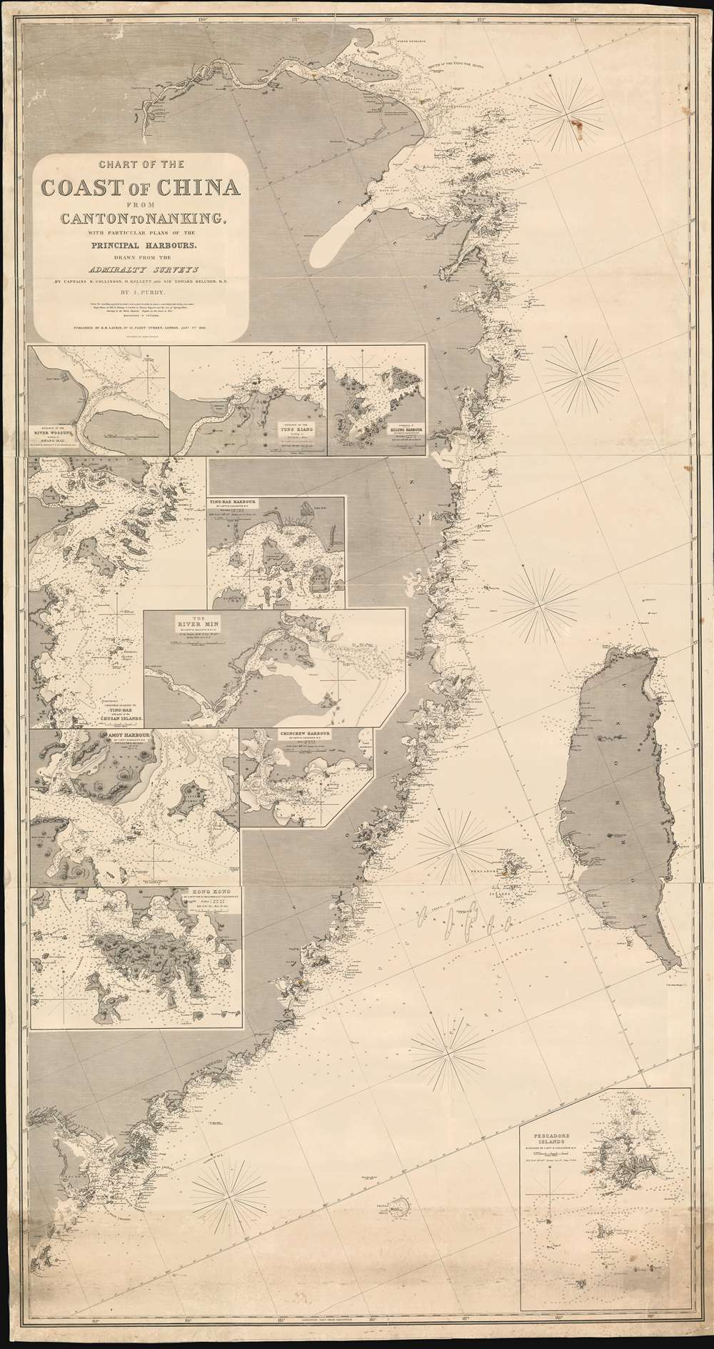 Chart of the Coast of China from Canton to Nanking, with particular plans of the principal Harbors, Drawn from the Admiralty Surveys by Captains R. Collinson, H. Kellett and Sir Edwad Belcher, R. N. - Main View
