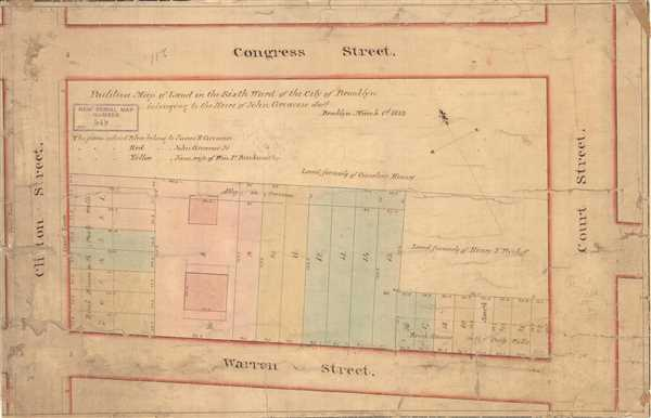 Partition Map of Land in the Sixth Ward of the City of Brooklyn belonging the Heirs of John Greacen decd. - Main View