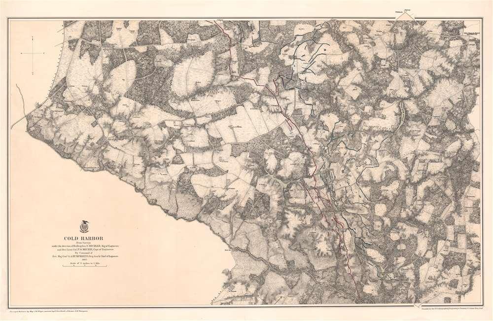 1867 Weyss Map of the Civil War Battlefield of Cold Harbor, Virginia
