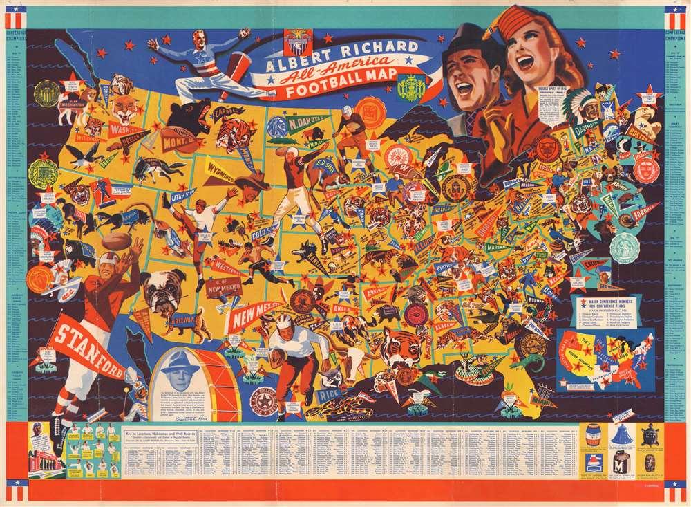 Albert Richard All-America Football Map. - Main View