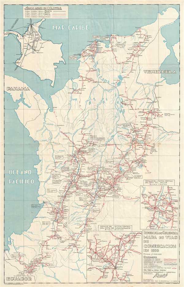 Republica de Colombia Mapa de Vias de Comunicacion en 1939.
