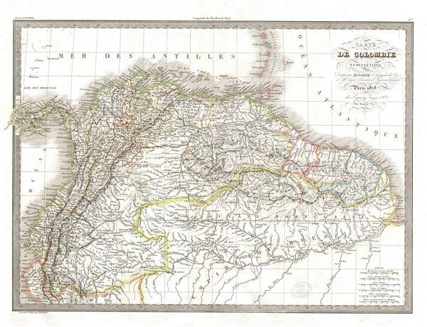 Carte de Colombie et des Guyanes.