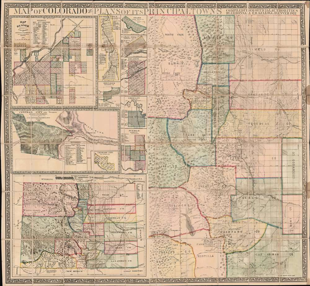 Map of Colorado with Plans of its Principal Towns. - Main View
