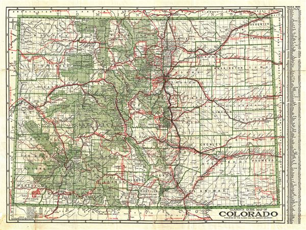 Clason's Guide Map of Colorado.