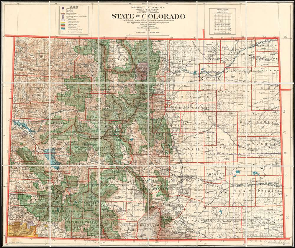 State of Colorado Compiled chiefly from the Official Records of the General Land Office with supplemental data from other map making agencies under the direction of I.P. Berthrong, Chief of Drafting Division, G.L.O.