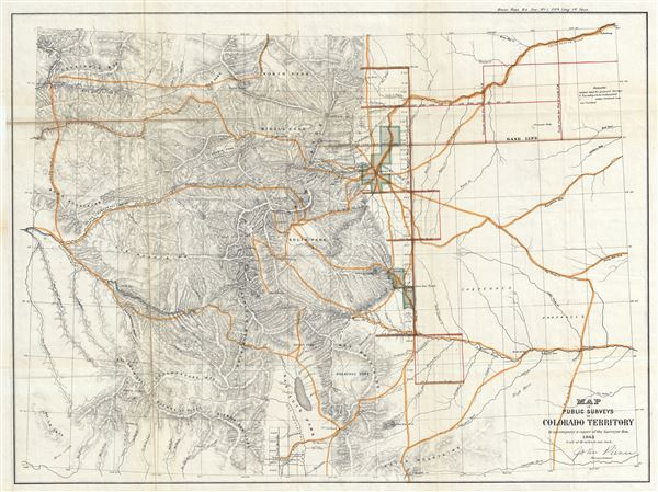 Map of Public Surveys in Colorado Territory to accompany a report of the Surveyor Gen. - Main View