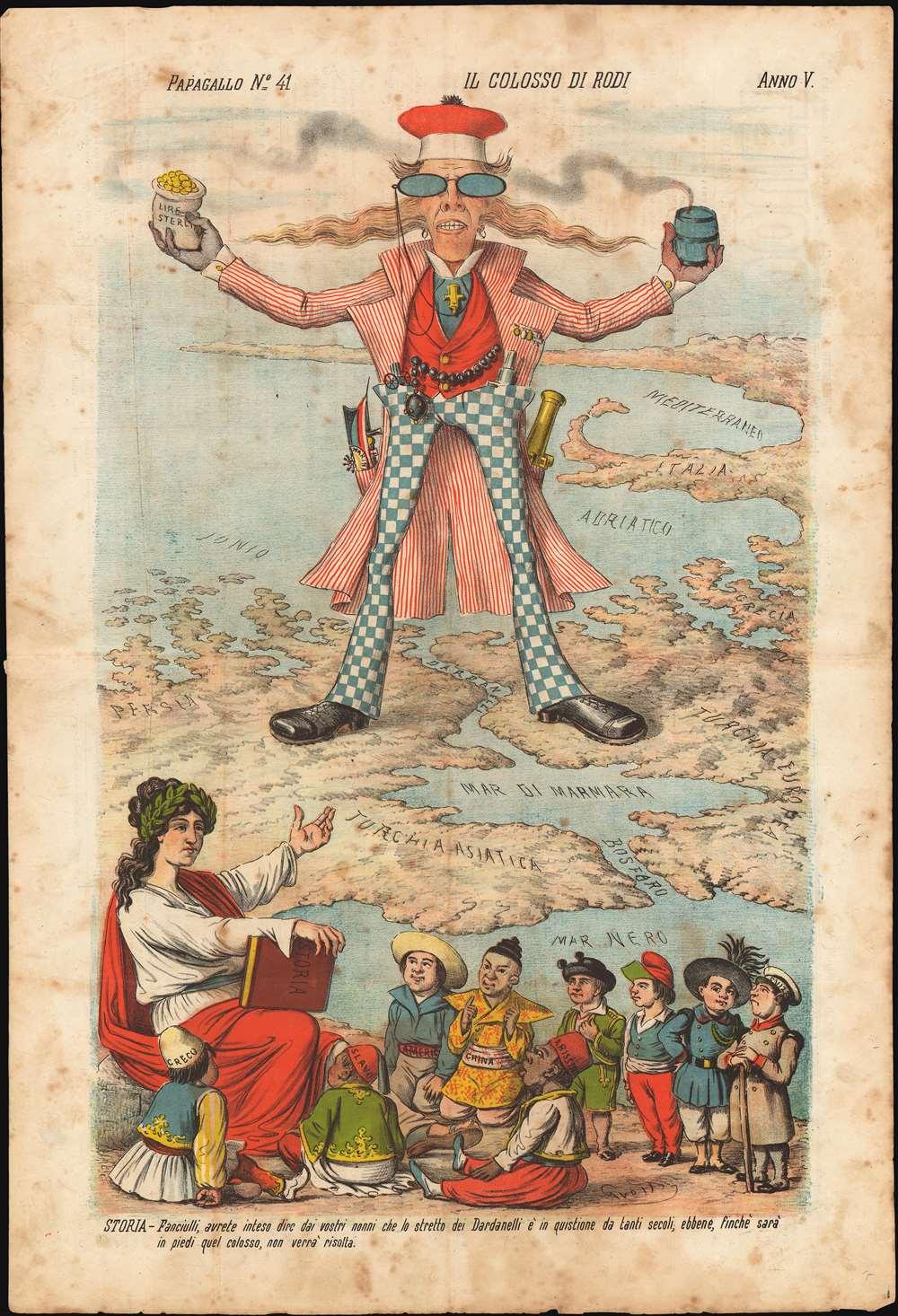 Il Colosso di Rodi. Papagallo. No. 41.  Anno V.