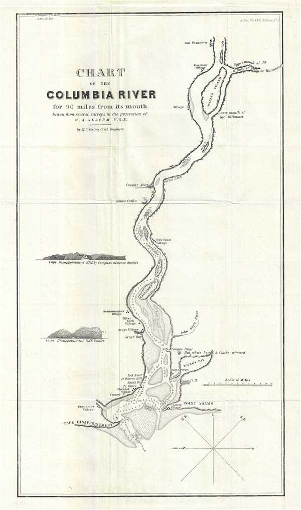 Chart of the Columbia River for 90 miles from its mouth.