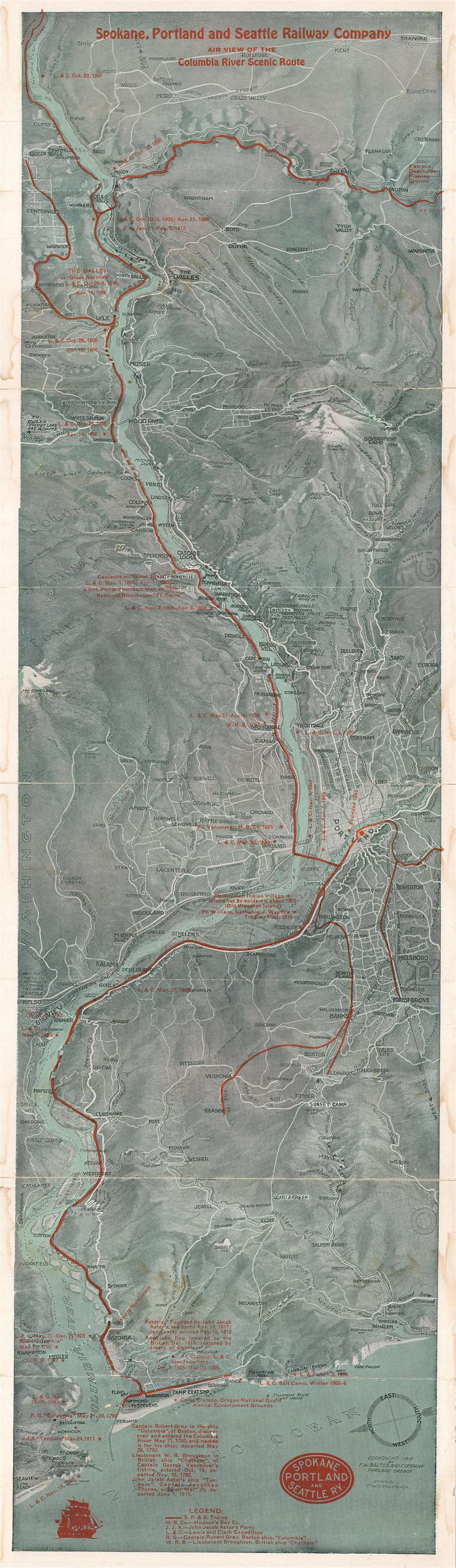 Spokane, Portland, and Seattle Railway Company Air View of the Columbia River Scenic Route. - Main View