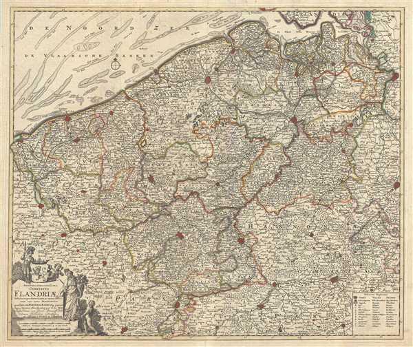Novissima et Accuratissima Comitatus Flandriae Tabula, in qua Novae Lineae, et omnes Urbes, cum suis veris Munitionibus quae Gallis, Hispanis, Batavisqe parent. - Main View