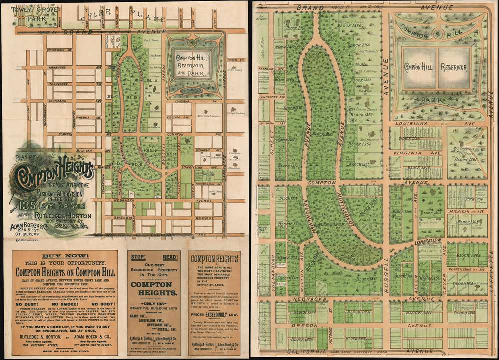 1895 Promotional Map of Compton Heights, Saint Louis, Missouri