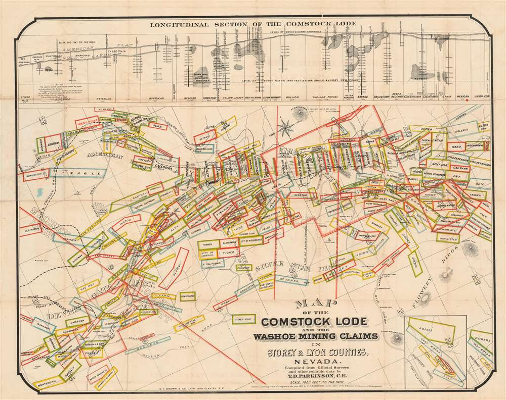 Map of the Comstock Lode and the Washoe Mining Claims in Storey and Lyon Counties, Nevada. - Main View