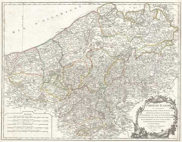 1752 Vaugondy Map of Flanders: Belgium, France, and the Netherlands