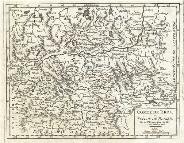 1748 Vaugondy Map of the County of Tyrol, Italy and Austria