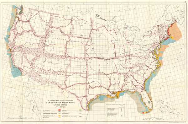 U.S. Coast and Geodetic Survey. Condition of Field Work United States. June 30, 1926.