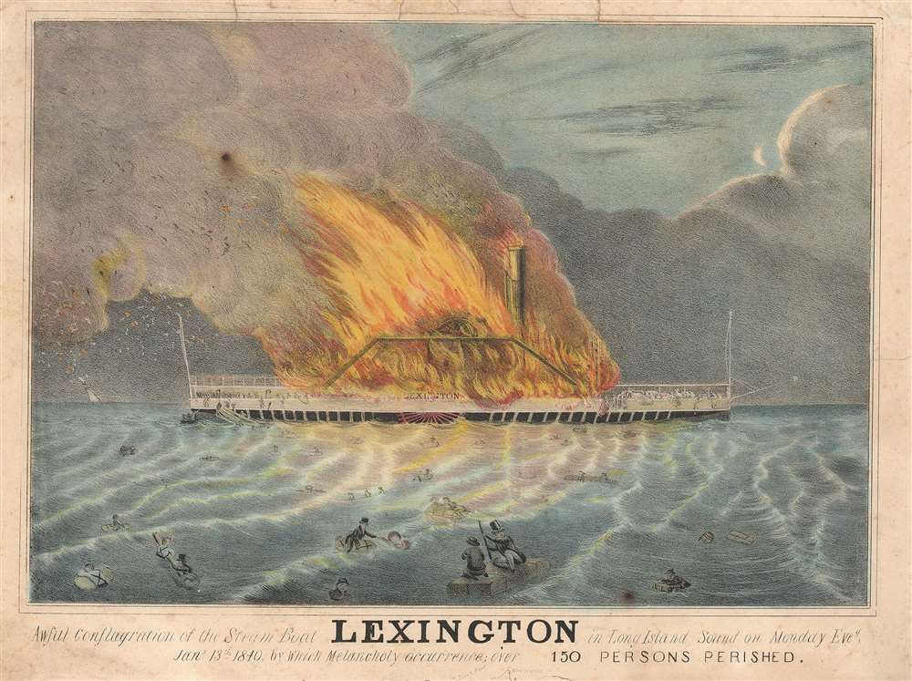 1840 View of Burning of the Lexington, Long Island, New York