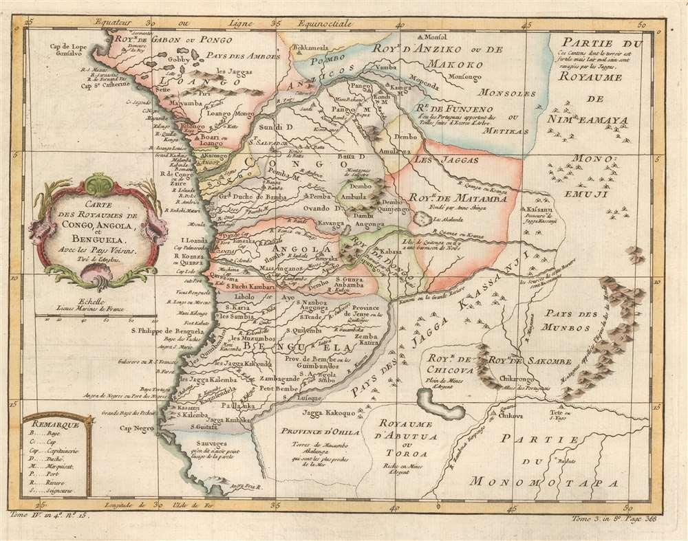 Carte des Royaumes de Congo, Angola, et Benguela. Avec les Pays Voisins. - Main View