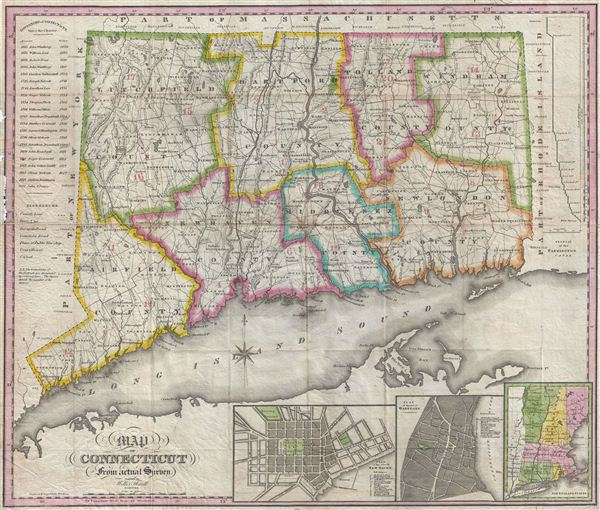 Map of Connecticut from actual Survey.