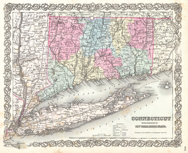 Connecticut with portions of New York and Rhode Island. - Main View