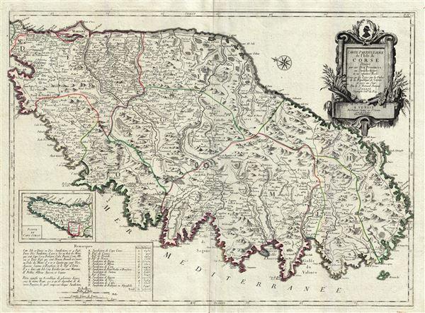 Carte Particuliere de L'Isle de Corse Divisee par ses Dix Provinces ou Juridictions et ses quatre Fiefs.