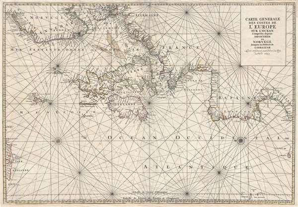 Carte Generale Des Costes De L'Europe Sur L'Ocean Comprises depuis Drontheim en Norvege Jusques au Detroit de Gibraltar. Levée et Gravée par Ordre du Roy à Paris 1693.