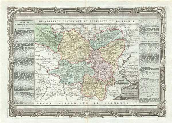 Carte des Departemens de la Cote d'Or, de Saone et Loire, de la Haute Saone, du Doubs, du Jura, de l'Ain, et de la partie Sud de celui d'Yonne.