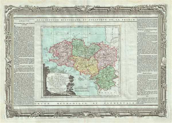Carte des Departemens des Cotes du Nord, du Finisterre, de l'Ille et Vilaine, de la Loire inferieure et du Morbihan.