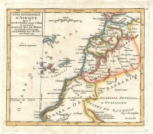 Cote Occidentale d'Afrique depuis le Detroit de Gibraltar jusqu'au C. Blanc où se trouvent les Etats du Roi de Maroc. Par le Sr. Robert de Vaugondy Fils de Mr. Robert Geogr. ord. du Roi.