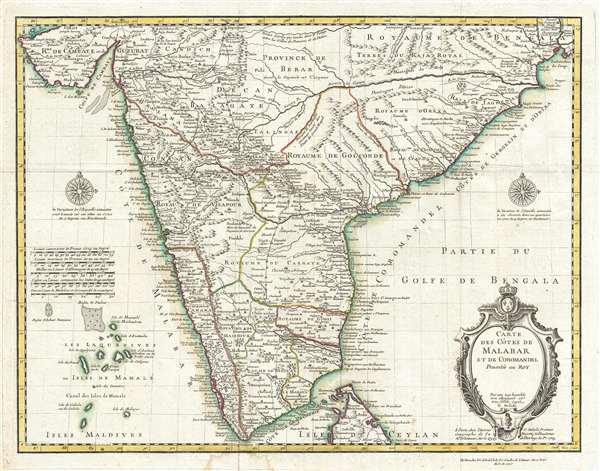 Carte des Cotes de Malabar et de Coromandel.