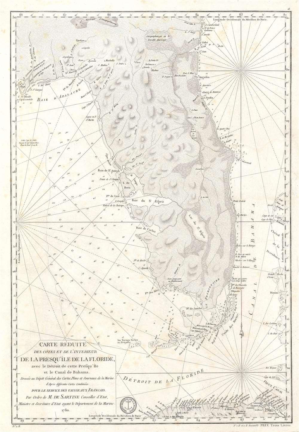 Carte Réduite des Côtes et de l'Interieur de la Presqu'île de la Floride, avec le Détroit de cette Presqu'Île et le Canal de Bahama. - Main View