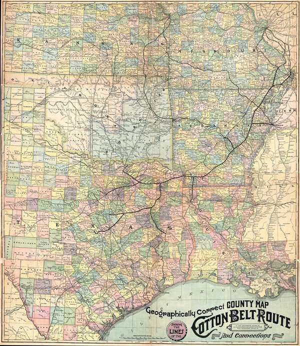 Geographically Correct County Map Showing the Lines of the Cotton Belt Route: St. Louis Southwestern Railway Co., St. Louis Southwestern Railway Co. of Texas, Tyler Southeaster Railway Co., and Connections.