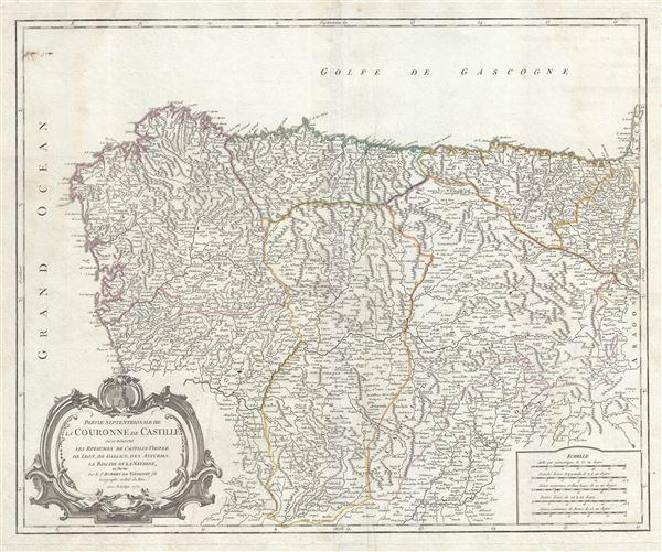 Partie Septentrionale de la Couronne de Castille ou se trouvent les Royaumes de Castille Vieille, de Leon, de Gallice, des Asturies, la Biscaye et la Navarre, en partie. - Main View
