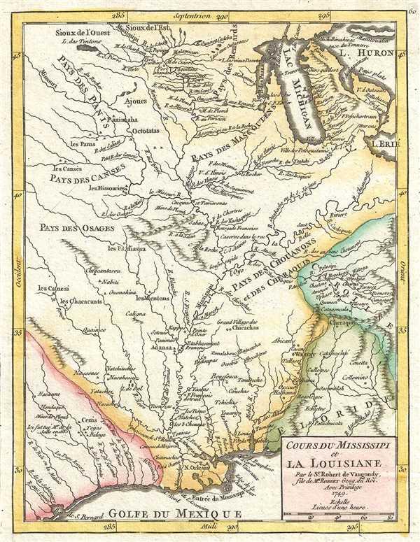Cours du Mississipi et la Louisiane. Par le Sr. Robert de Vaugondy, fils de Mr. Robert Géog. Du Roi. - Main View