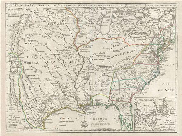Carte De La Louisiane Et Du Cours Du Mississipi Avec Les Colonies Anglaises.