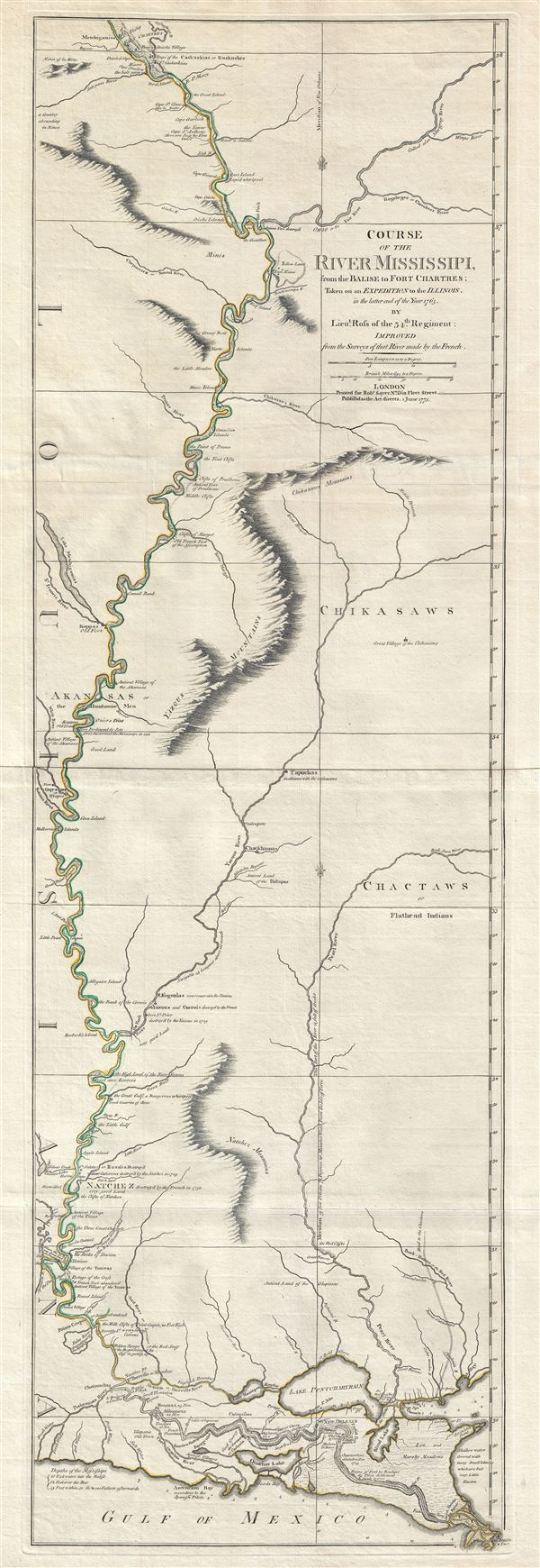 Course of the River Mississipi, from the Balise to Fort Chartres; Taken on an Expedition to the Illinois, in the latter end of the Year 1765.