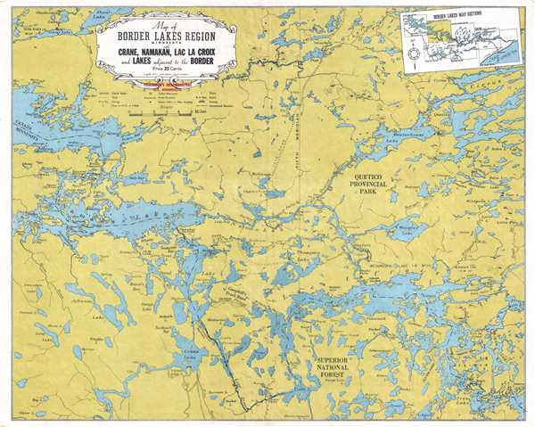 Map of Border Lakes Region Minnesota with Crane, Namakan, Lac La Croix, and Lakes Adjacent to the Border.