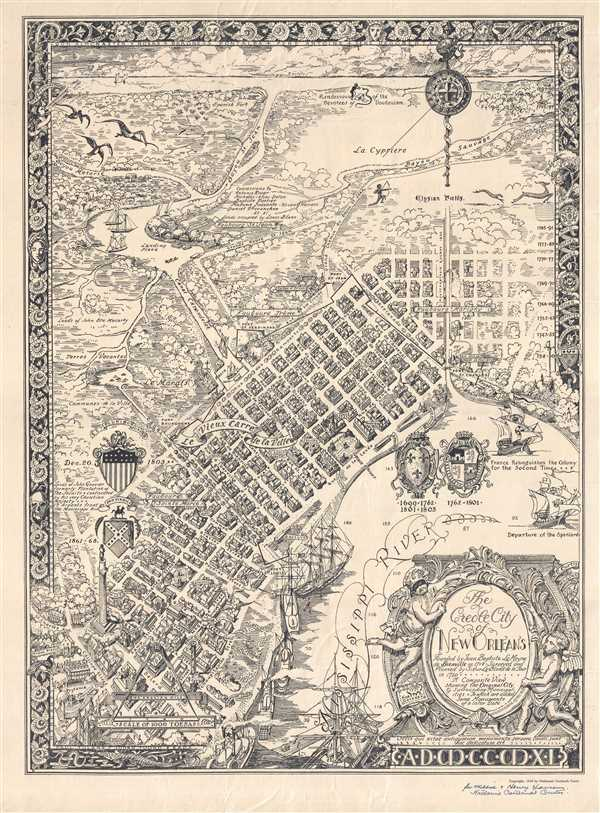 Antique New Orleans Map.The Creole City Of New Orleans Founded By Jean Baptiste Le Moyne De