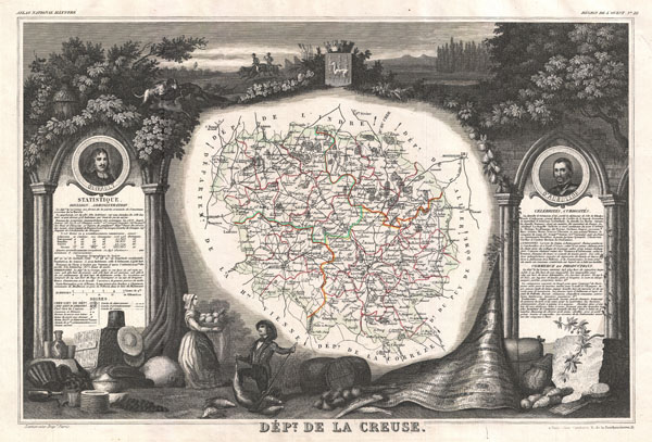 1852 Levasseur Map of the Department La Creuse, France