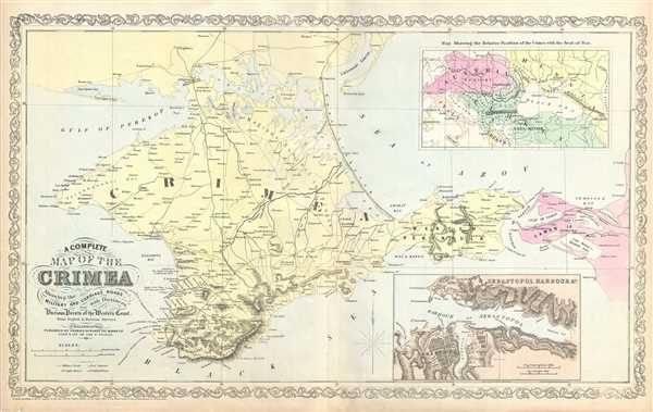 A Complete Map of the Crimea Showing the Military and Carriage Roads ...