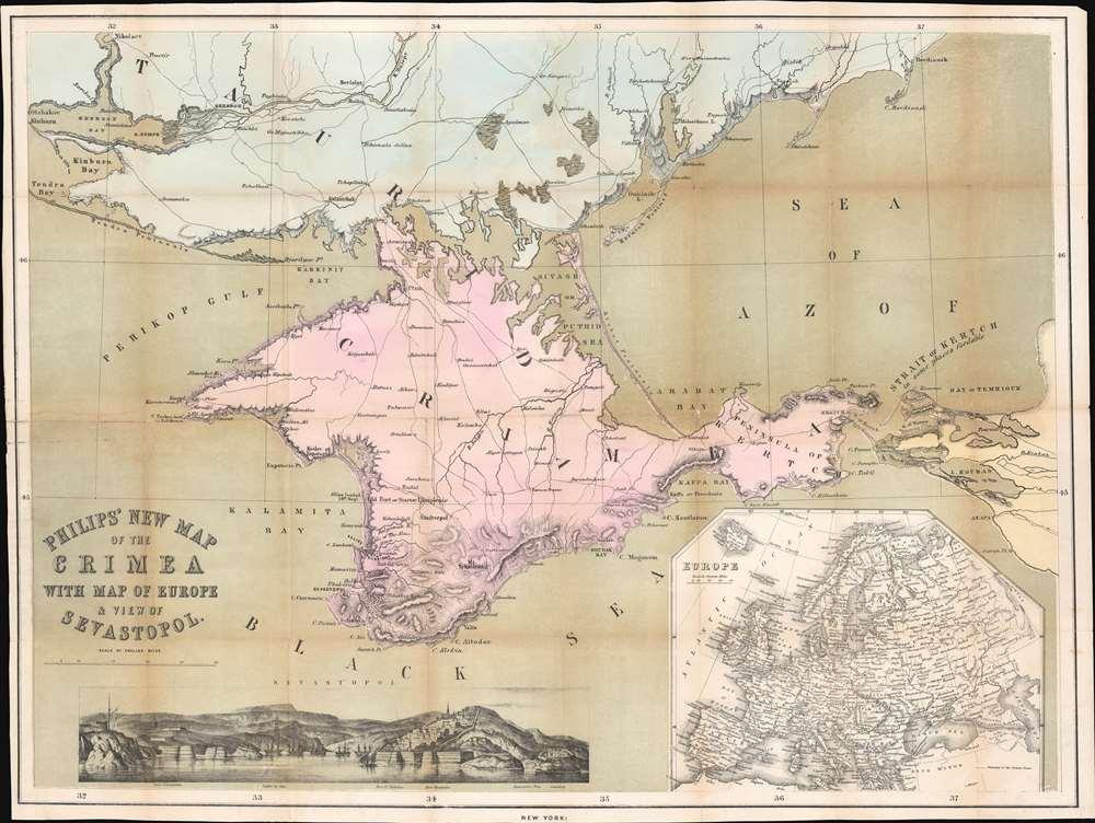 1854 Philip Map of the Crimean Peninsula / Crimea
