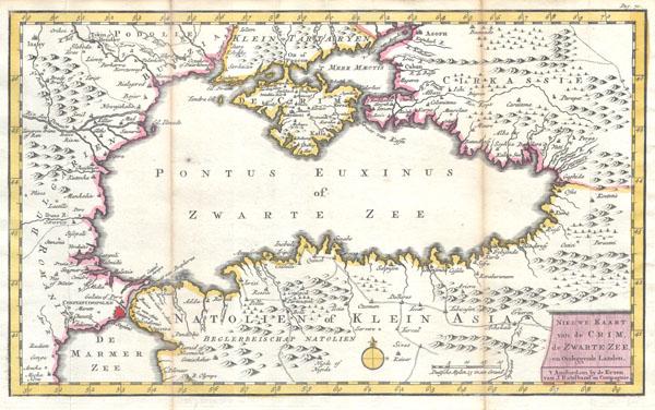 Nieuwe Kaart van de Crim de Zwarte Zee en Omleggende Landen.