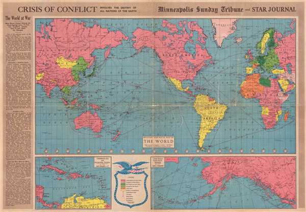 1942 Minneapols Tribune Map of the World at War During World War II