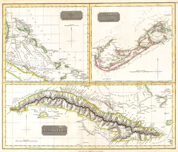 Island of Cuba. / The Bermudas. or Summer Islands. / Chart of the Bahama Islands.