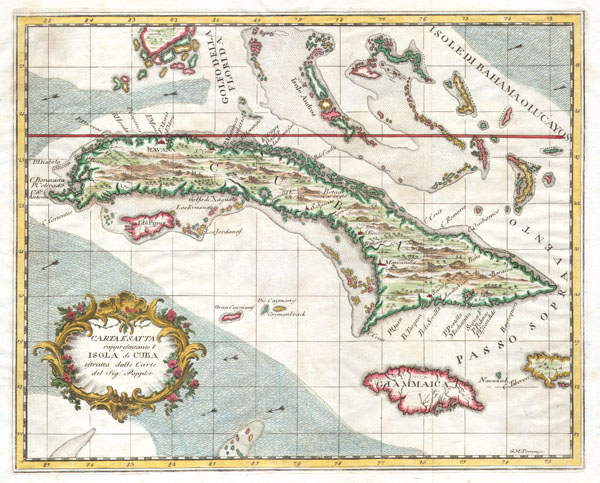 Carta Esatta rappresentante l'Isola di Cuba estratta dalle Carte del Sig:r Poppler.