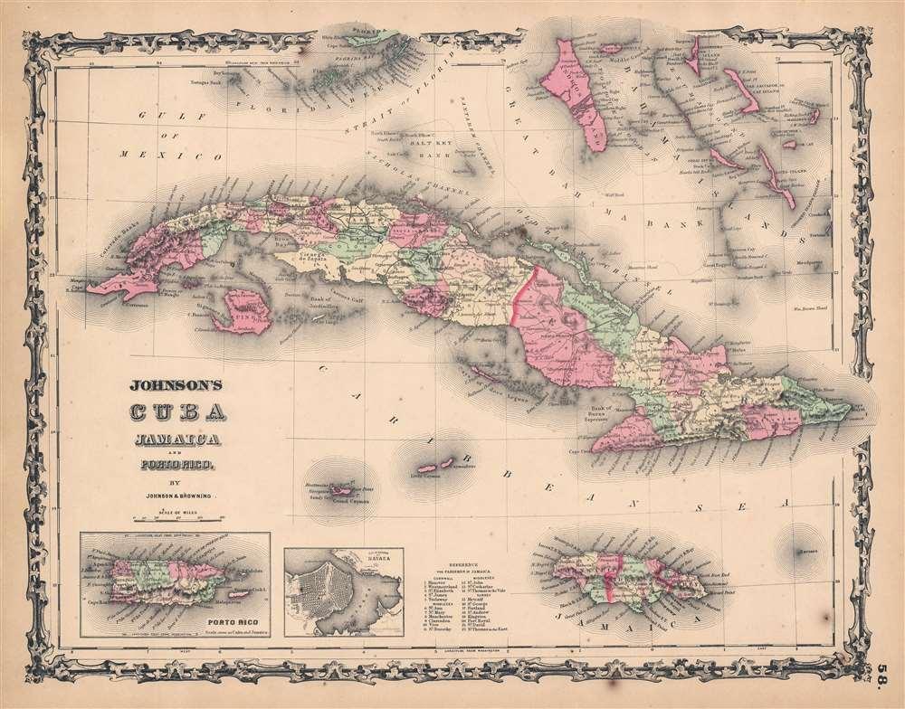1861 Johnson Map of Cuba, Jamaica, and Puerto Rico
