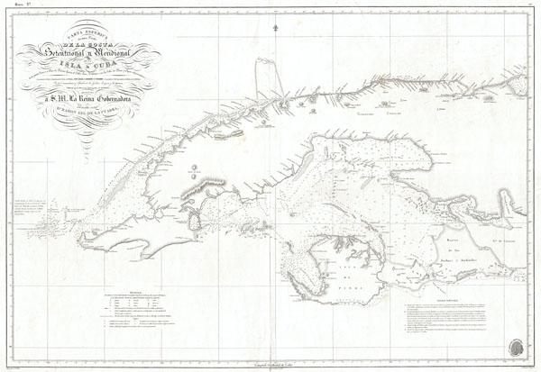 Carta Esferica de una Parte de la Costa Setentrional y Meridional de la Isla de Cuba … 1834.