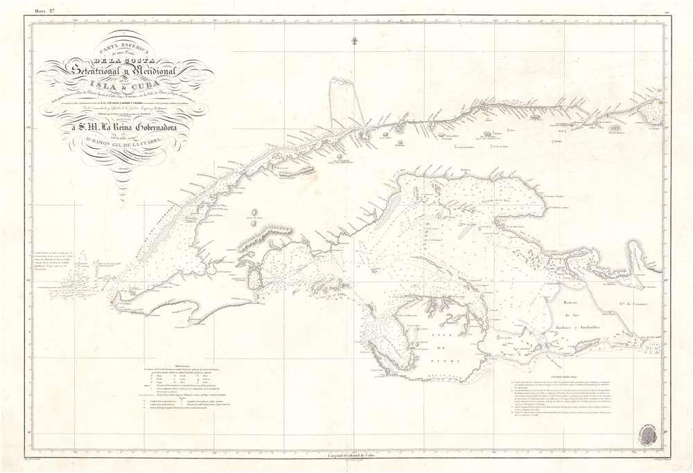 Carta Esferica de una Parte de la Costa Setentrional y Meridional de la Isla de Cuba … 1834. - Main View