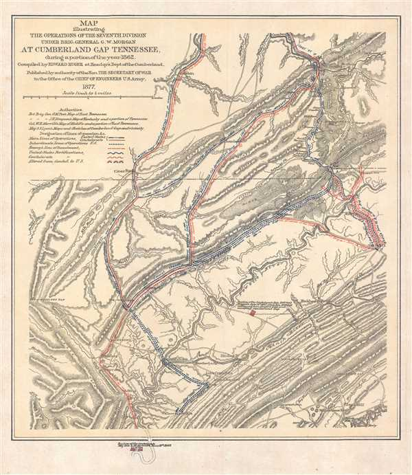 Map illustrating the Operations of the Seventh Division under Brig. General G.W. Morgan at Cumberland Gap Tennessee, during a portion of the year 1862.