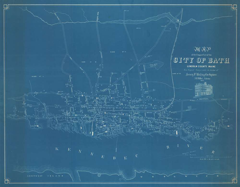 Map of the Compact Part of the City of Bath, Lincoln County, Maine.